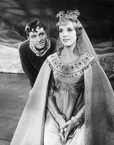 Richard Burton and Julie Andrew as King Arthur and Guinevere in the original Broadway production of Camelot.