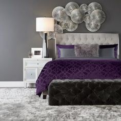 Purple and Grey Bedroom. Purple and Grey Bedroom. Purple and Grey Bedroom Makeover for My First Interior Purple Gray Bedroom, Bedroom Colors, Purple Bedroom Design, Bedroom Ideas Purple, Purple Bedding, Purple Home Decor, Purple Pillows, Grey Room, Purple Teal