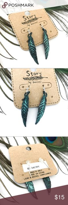 Handmade Oxidized Feather Dangle Earrings Last one in stock! Brand new with tags! Great quality!   PRODUCT DETAILS: •Size: One size •Colors: Silver, Bronze/Copper, Oxidized Green •Made in China •Lead and nickel compliance •Dangle Style  •Antique Aged Color Detailing     Tags: native American Indian tribal earth story by Davinci vintage boho bohemian Story Jewelry Earrings