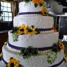 Sunflower wedding cake by June's Bakeshop