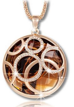 "81b6ebc41223 Fashion Qianse ""Rolling Ball Classic Rose Gold Plated Round Necklace"" with  Brown Austrian Crystal"