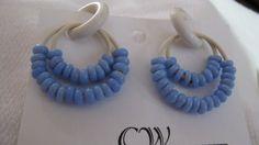 Rubber Earrings Pretty Blue on White Non-Pierced pr