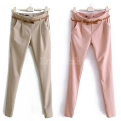 Women's Candy Color Fit Pencil Pants Casual Tailored Trousers