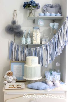 Gorgeous shabby chic baptism party! See more party planning ideas at CatchMyParty.com!