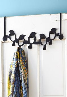 Hooked On a Steel Wing Door Hooks. You had a feeling these charming hooks would add high-flying fun to your abode - and right you were! #black #modcloth