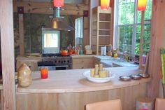 Maple kitchen bar top with a flat water based finish
