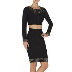 Herve Leger Duran Jewel Beaded Jacket And Skirt HLC640 on the lookout for limited offer,no taxes and free shipping.#dress #dresses #womenfashion #herveleger #hervelegerdresses
