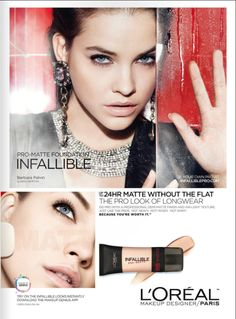 Loreal Infallible Foundation, Matte Foundation, Makeup Poster, Tissue Engineering, Beauty Companies, Light Texture, Barbara Palvin, Advertising Design, Loreal Paris