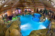 Salt-water aquarium and waterfalls usher in a tropical lagoon setting