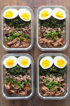 Using pulled beef from a Slow-Cooker Pot Roast for meal prepping. 4 meal prep containers with crock pot roast, hard-boiled eggs, sautéed spinach, brown rice and puy lentils.