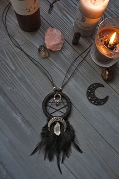 Lilith, the Black Moon necklace by Witchy. Wiccan Jewelry, Moon Jewelry, Gothic Jewelry, Beaded Jewelry, Moon Necklace, Diy Necklace Metal, Diy Choker, Choker Necklaces, Black Necklace