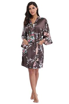 5226795a7a70 Women s Kimono Robe- Peacock Design- Short - Mulberry Wine - C3121SIBUMV in  2018