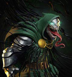 Venom Doom by Tiago Zenobin Venom Comics, Marvel Venom, Marvel Villains, Marvel Dc Comics, Marvel Heroes, Hulk Marvel, Marvel Universe, Symbiotes Marvel, Venom Art