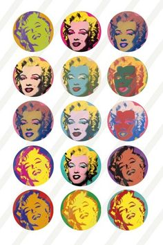 Marilyn Monroe Digital Collage for bottlecaps 1 inch round 4x6 sheet 4