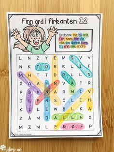 Ordsøk etter høyfrekvente ord. Norsk lese- og skriveopplæring Blog, Cards, First Grade, Blogging, Maps, Playing Cards
