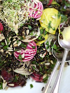 Sprouted Wild Rice and Beet Salad with Ginger Dressing