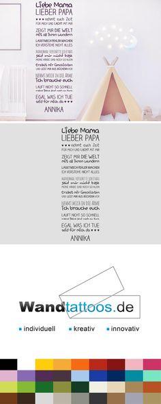 Wandtattoo Liebe Mama Lieber Papa als Idee zur individuellen Wandgestaltung. Einfach Lieblingsfarbe und Größe auswählen. Weitere kreative Anregungen von Wandtattoos.de hier entdecken!