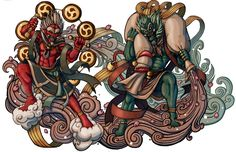 Demon Gods Fujin and Raijin by ElBrazo.deviantart.com on @deviantART