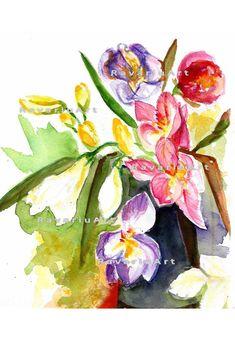 Printable Freesia still life multicolor flowers watercolor painting JPG PDF digital art Watercolor Flowers, Watercolor Paintings, Watercolours, Still Life, Digital Art, Pdf, Printables, Handmade Gifts, Etsy
