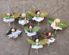 Flower Fairy Dolls, Miniature Fairies, Fairy Ornaments, Ballerina Ornaments, Christmas fairy tree ornament, Ballerina Angels, Handmade Dolls
