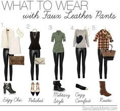 Wear with Faux Leather Pants What to Wear: With Faux Leather Pants. These 5 looks rock.What to Wear: With Faux Leather Pants. These 5 looks rock. Legging Outfits, Leather Leggings Outfit, Faux Leather Pants, Leather Skirts, Outfits With Leather Pants, Leather Jackets, Leather Jeggings, Shiny Leggings, Black Leggings