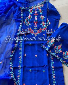 Embroidery Neck Designs, Hand Embroidery Videos, Embroidery Suits Design, Embroidery Fashion, Beaded Embroidery, Clothing Photography, Photography Outfits, Embroidery Suits Punjabi, Boutique Suits