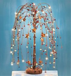 Primitive Country Star Weeping Willow Tree LED Lighted Tabletop Decor w/ Remote #Unbranded #Country