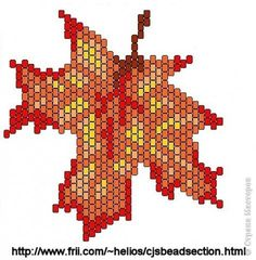 pattern of Autumn Leaf- perler beads? Peyote Stitch Patterns, Beading Patterns Free, Seed Bead Patterns, Jewelry Patterns, Leaf Patterns, Seed Bead Flowers, Beaded Flowers, Seed Beads, Bordados E Cia