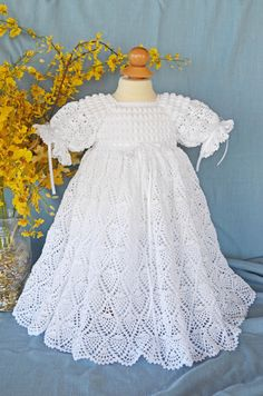 White Christening / Blessing Gown with White by CherryHillCrochet, $100.00
