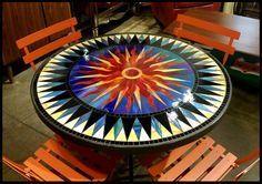 Marble Pietra dura round side Dining Table Top Inlay Mosaic Marquetry use Mosaic Diy, Mosaic Crafts, Mosaic Projects, Mosaic Glass, Mosaic Tiles, Glass Art, Stained Glass Designs, Mosaic Designs, Stained Glass Patterns