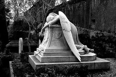 """The """"Angel Of Grief"""" - Emelyn Story's tomb in the Cimitero Acattolico in Rome is the work of her husband, American sculptor, poet, and art critic William W. Cemetery Angels, Cemetery Statues, Cemetery Art, Angel Statues, Angel Sculpture, Art Sculpture, Crying Angel, La Danse Macabre, Old Cemeteries"""