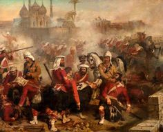 Desanges, Louis, (1822-1887), 78th Highlanders at Lucknow, 1857, Oil