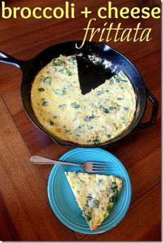 Broccoli Cheese Frittata - Make ahead and reheat for a healthy breakfast!