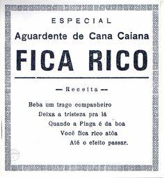 Rótulo da Aguardente de Cana Fica Rico - Mapa da Cachaça