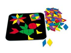 """Magnetic Mosaic Design Board by Lakeshore Learning Materials. $19.99. Board measures 12"""". Colorful foam shapes stick right on the magnetic board. Fun-to-use board makes it easy for kids to create tons of designs. For ages 3-6 years. Children develop an understanding of shapes and build fine motor skills. Kids develop fine motor skills...as they create one-of-a-kind mosaic designs! Our kit features 132 durable foam magnets in 7 shapes and 6 colors...plus a big 12"""" magnet..."""