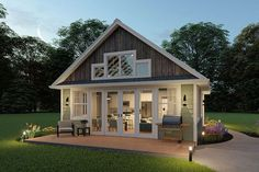 Guest House Plans, Small Cottage House Plans, Pool House Plans, Small Cottage Homes, Small House Floor Plans, Small Cottages, Barn House Plans, Tiny House Cabin, Cabins And Cottages