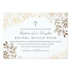 Baptism Invitations Harvest Flowers Baptism Card