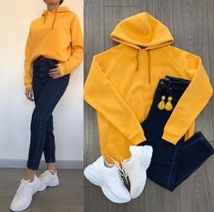 Yellow Jumper Outfit, Yellow Jumpsuit, Black Jeans Outfit, Black Jumper, Jumpsuit Outfit, White Huaraches, Trendy Outfits, Cute Outfits, Black Huarache