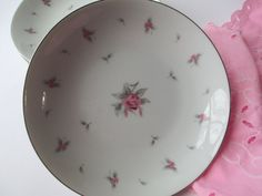 Vintage Meito Pink Rose Soup Bowls Set of Four by thechinagirl