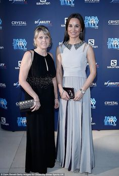 Pippa Middleton (pictured with Fiona Young)spent the evening rubbing shoulders with the great and good of the sporting world at the ParaSnowBall at Fulham's The Hurlingham Club