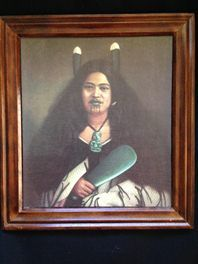 Maori Wahine Painting, Gottfried LindauerExcellent print of Gottfried Lindauer portrait of Pare Watene. She was regarded as one of the most handsomest Women in the Hauraki district in the 1870's.   She was accompanied by Ana Rupene( see other listed print for sale) as the two sauntered about town drawing much attention and admiration. Described as have much dignity and beauty.  Solid wooden frame, short blurb and print name on back of print.