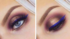 Smokey Halo Eyes & Blue Eyeliner Makeup Tutorial