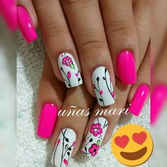 Fabulous Nails, Gorgeous Nails, Pretty Nails, Ruby Nails, Toe Nails, Hot Pink Nails, Flower Nail Art, Manicure And Pedicure, How To Do Nails