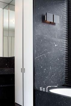 Matte Black Slab shower walls