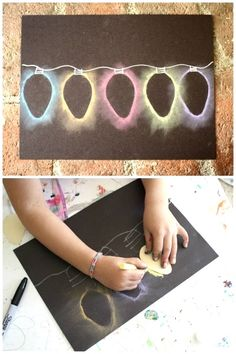 Here's a quick Christmas art project for kids: Christmas Light Chalk Stencil Art DIY Christmas Card! The kids always love how these turn out and can't wait to make them again and again!