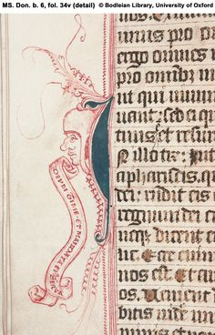 Illuminated Manuscripts  fol. 34v (detail) Penwork: male head with inscribed scroll.