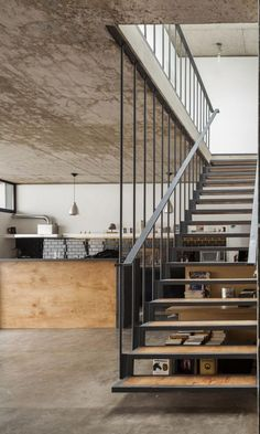 Modern Staircase Design Ideas - Stairways are so usual that you do not provide a second thought. Check out best 10 examples of modern staircase that are as magnificent as they are . Open Stairs, Metal Stairs, Floating Stairs, Concrete Stairs, Concrete Floors, Wood Railing, Stair Handrail, Railings, Banisters