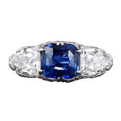 1stdibs   Magnificent 4.10 Carat Sapphire and Diamond Early-Art Deco Ring
