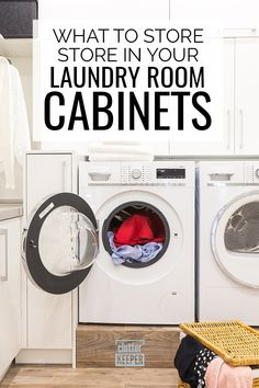 What's better - laundry room cabinets or shelves? Browse these ideas and learn how to store all your laundry supplies in a beautifully organized space. Laundry Room Shelves, Laundry Room Cabinets, Laundry Closet, Laundry Room Organization, Home Office Organization, Organization Hacks, Organizing Ideas, Laundry Hacks, Laundry Supplies