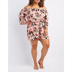 Plus Size Pink Floral Off-The-Shoulder Romper - Size 3X